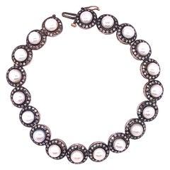 18 Karat Diamond and Pearl Bracelet Estate Jewelry