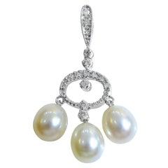 18 Karat Diamond and Pearl Ladies Pendant