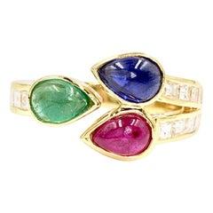 18 Karat Diamond and Precious Gemstone Bypass Modern Ring