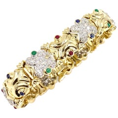 18 Karat Diamond and Precious Gemstone Link Bracelet