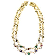 18 Karat Diamond and Precious Gemstone Linked Necklace