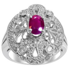 18 Karat Vintage Diamond and Ruby Ladies Ring