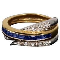 18 Karat Diamond and Sapphire Alfieri & St John Band