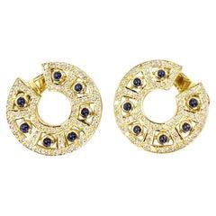 18 Karat Diamond and Sapphire Fancy Hoop Earring