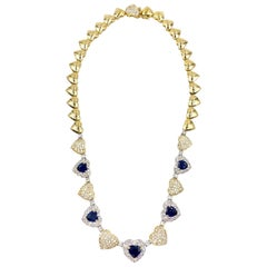 18 Karat Diamond and Sapphire Heart Necklace