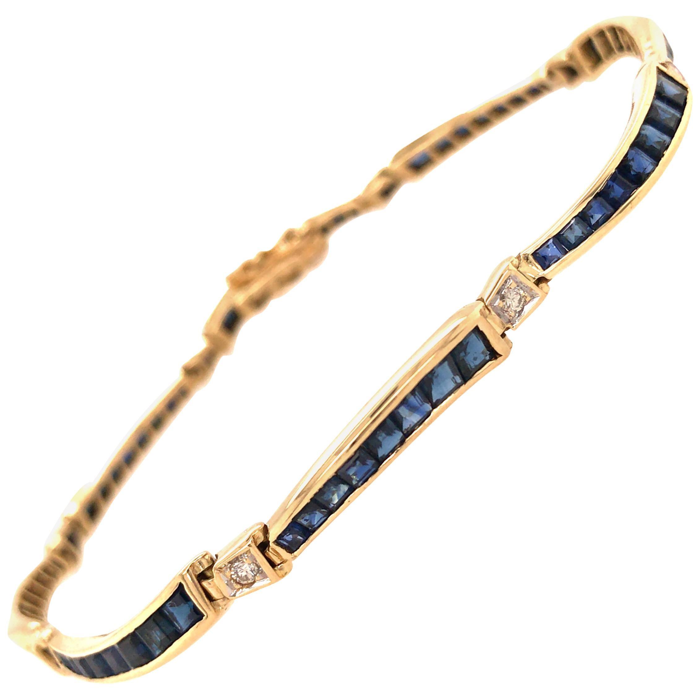 18 Karat Diamond and Sapphire Link Bracelet Yellow Gold