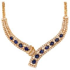 18 Karat Diamond and Sapphire Necklace Yellow Gold