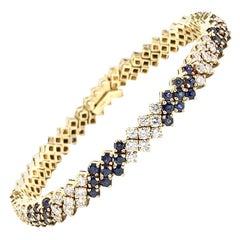 18 Karat Diamond and Sapphire Tennis Bracelet