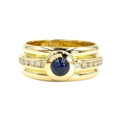 18 Karat Diamond and Sapphire Wide Ring