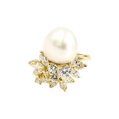 18 Karat Diamond and South Sea Pearl Cocktail Ring