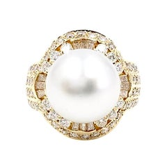 18 Karat Diamond and South Sea Pearl Ring