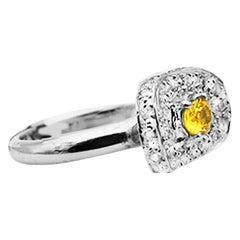 18 Karat Diamond and Yellow Sapphire Shield Ring, Pave Diamonds .75 Carat