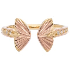 18 Karat Diamond Baby Asterope Butterfly Open Wing Ring