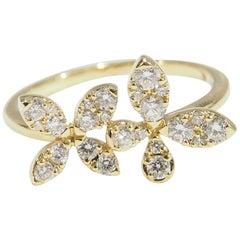 18 Karat Diamond Butterfly Ring cluster Yellow Gold 0.64 Carat