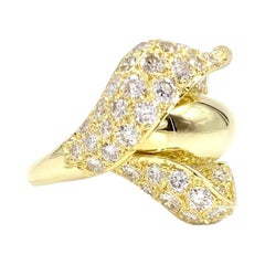 18 Karat Diamond Calla Lily Flower Ring
