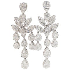 18 Karat Diamond Chandelier Earrings Drop Dangle White Gold 10.45 Carat