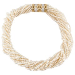 18 Karat Diamond Clasp Pearl Necklace