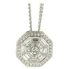 18 Karat Diamond Cluster Pendant