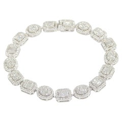 18 Karat Diamond Cluster Tennis Bracelet White Gold 4.12 Carat