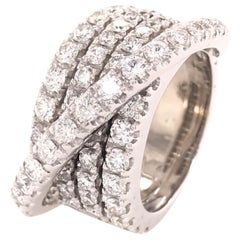 18 Karat Diamond Crossover Band White Gold