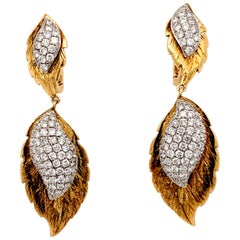 18 Karat Diamond Dangle Leaf Shaped Earrings