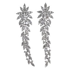 18 Karat Diamond Dangle Pierced Earrings