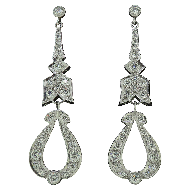 18 Karat Diamond Drop Art Deco Style Earrings White Gold