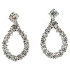 18 Karat Diamond Earrings Tear Drop White Gold 2.84 Carat
