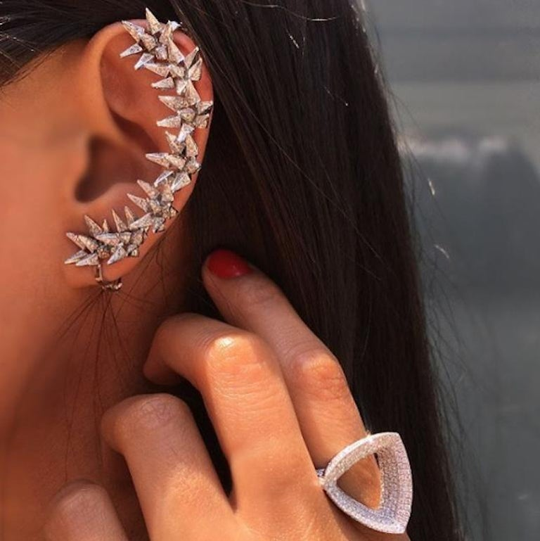 Contemporary 18 Karat Diamond Eclipse Spike Geometric Ear Cuff For Sale