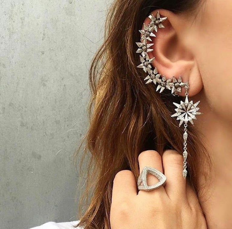 18 Karat Diamond Eclipse Spike Geometric Ear Cuff In New Condition For Sale In West Hollywood, CA