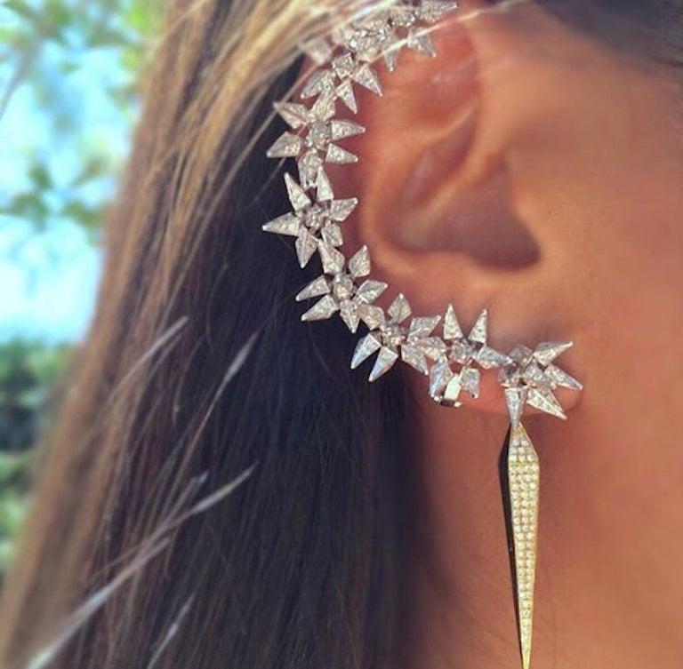 Women's or Men's 18 Karat Diamond Eclipse Spike Geometric Ear Cuff For Sale
