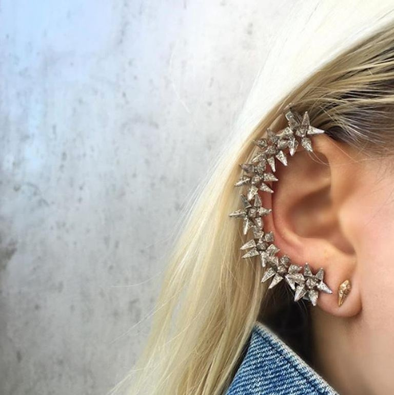 18 Karat Diamond Eclipse Spike Geometric Ear Cuff For Sale 1