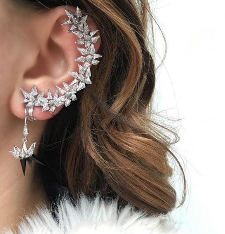 18 Karat Diamond Eclipse Spike Geometric Ear Cuff For Sale 2