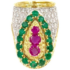 18 Karat Diamond, Emerald and Ruby Ring