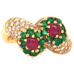 18 Karat Diamond, Emerald and Ruby Ring Yellow Gold