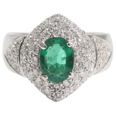 18 Karat Diamond Emerald Dome Ring White Gold