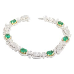 18 Karat Diamond Emerald Tennis Bracelet White Gold 4.80 Carat