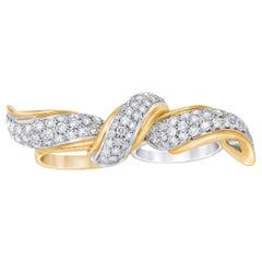 18 Karat Diamond Encrusted Two Finger Bow Ring
