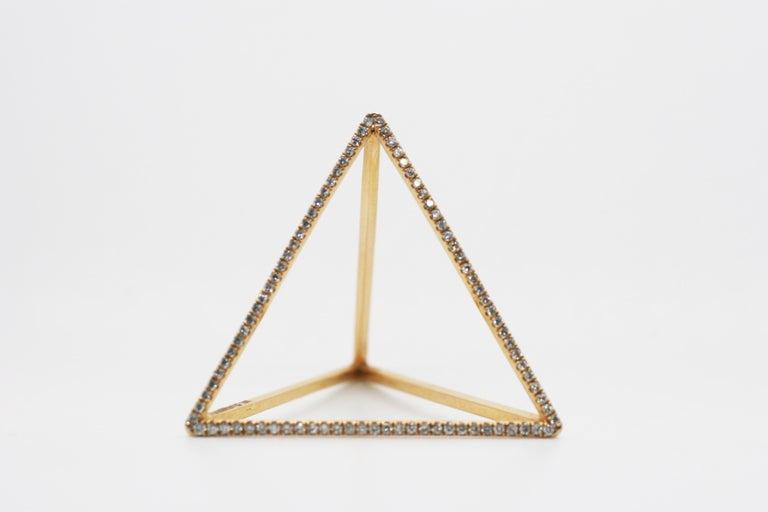Contemporary 18 Karat Diamond Face Tetrahedron Pyramid Ring  For Sale