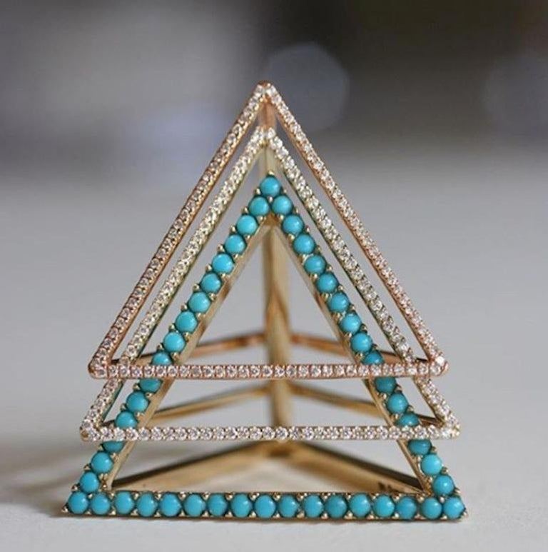 18 Karat Diamond Face Tetrahedron Pyramid Ring  In New Condition For Sale In West Hollywood, CA