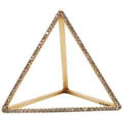 18 Karat Diamond Face Tetrahedron Pyramid Ring