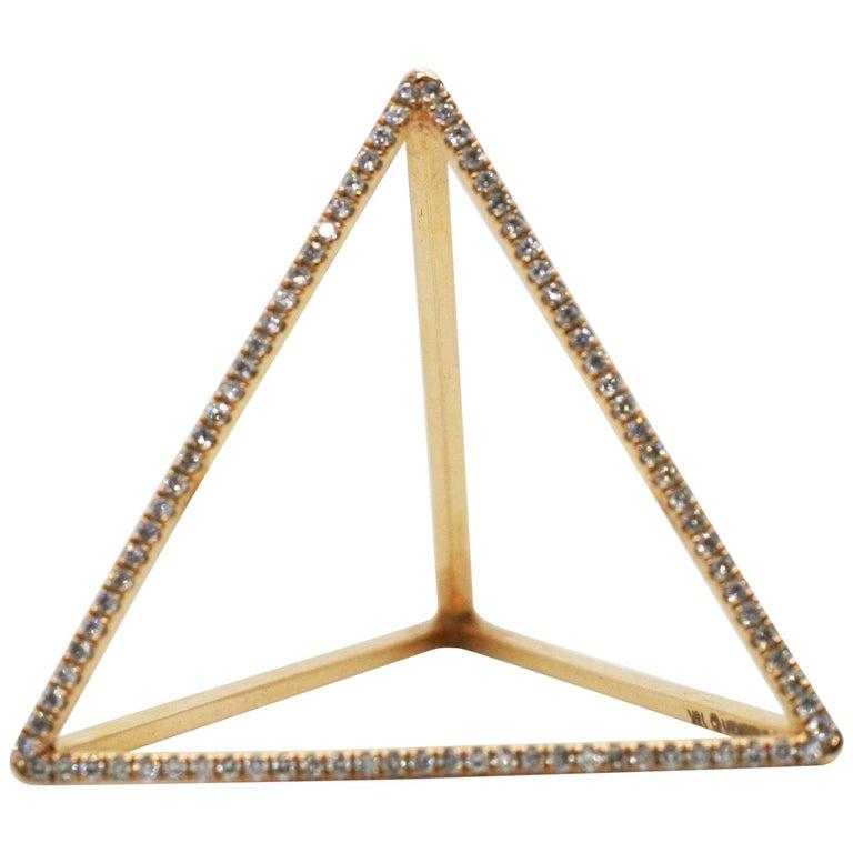 18 Karat Diamond Face Tetrahedron Pyramid Ring  For Sale