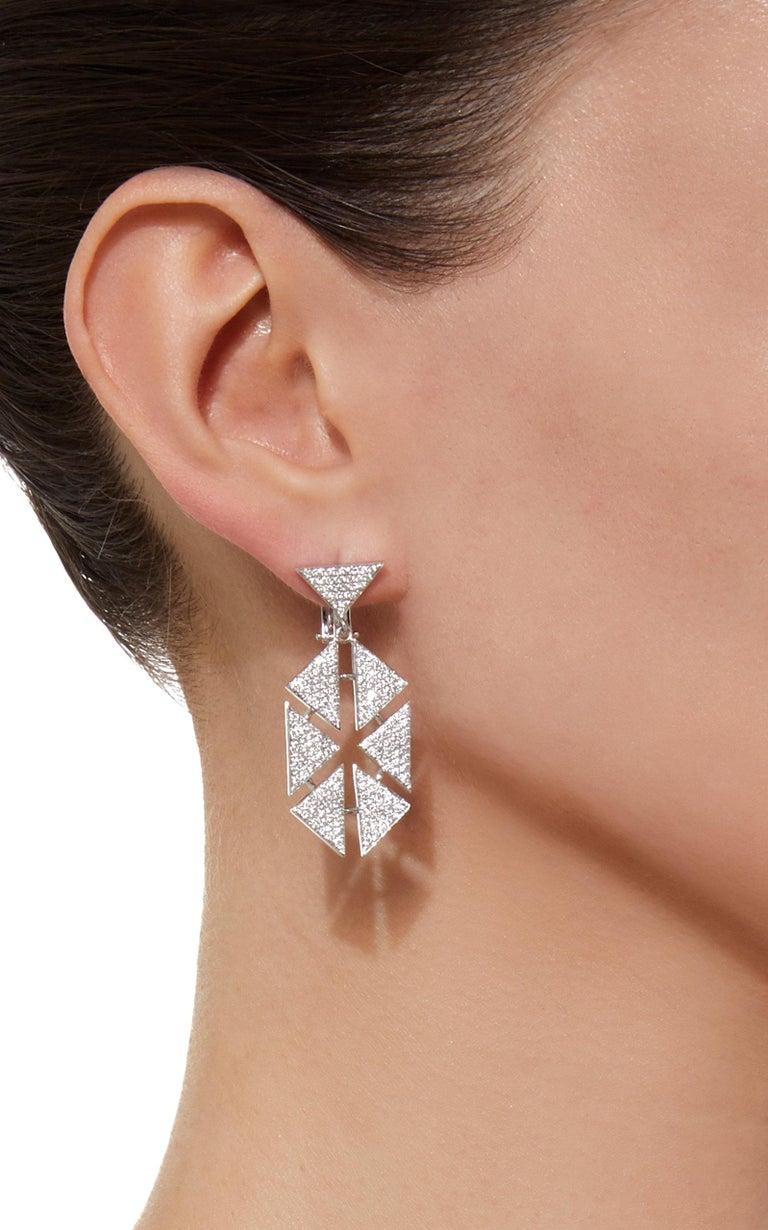 d37456e70 Women's or Men's 18 Karat Diamond Floating Triangle Geometric Earrings For  Sale