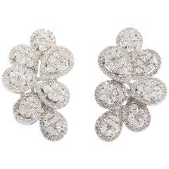 18 Karat Diamond Flower Cluster Earrings White Gold Omega Back
