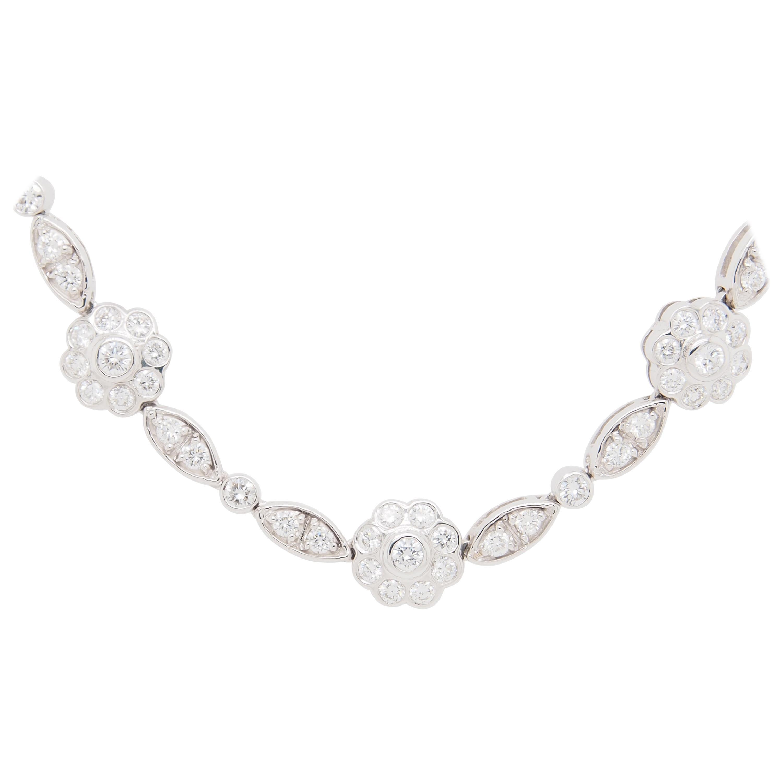 18 Karat Diamond Flower Cluster Necklace White Gold 7.75 Carat