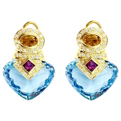 18 Karat Diamond, Gemstone and Blue Topaz Drop Earrings