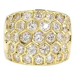 18 Karat Diamond Honeycomb Style Wide Ring