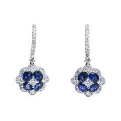 18 Karat Diamond Huggie Top with Diamond and Sapphire Drop Pierced Earrings