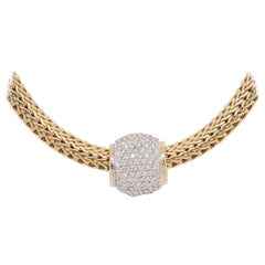 18 Karat Diamond John Hardy Necklace Yellow Gold Slide Pendant