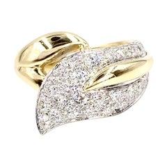 18 Karat Diamond Leaf Ring